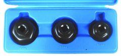 Coffret 3 cloches filtre à huile 6 pans hexagonaux 27 / 32 / 36 mm