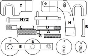 Coffret complet pour le calage des moteurs du groupe Renault DCI